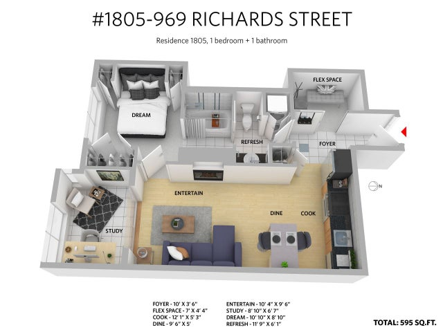 1805 969 RICHARDS STREET - Downtown VW Apartment/Condo for sale, 1 Bedroom (R2192235) #29